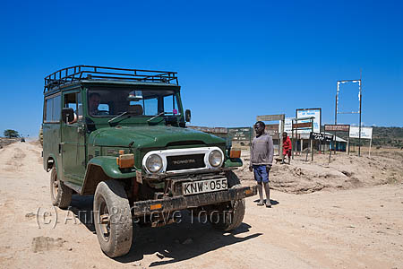 AT227 Classic 1970s Toyota Landcruiser on dirt road in Kenya