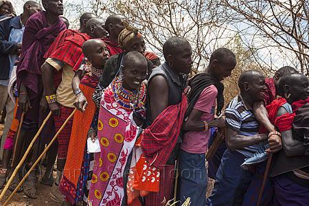 ACP28 Maasai villagers queueing at Predator Compensation Fund pa