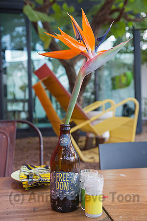Freedom cafe at Concierge Boutique Bungalows, detail of table setting with craft beer bottle, Durban, KwaZulu-Natal, South Africa, October 2016